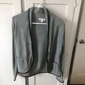 Kenar Jackets & Coats - Gray Blazer w/ Faux Leather Trim